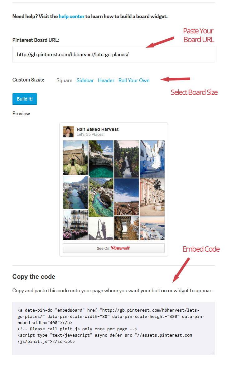 embed pinterest board