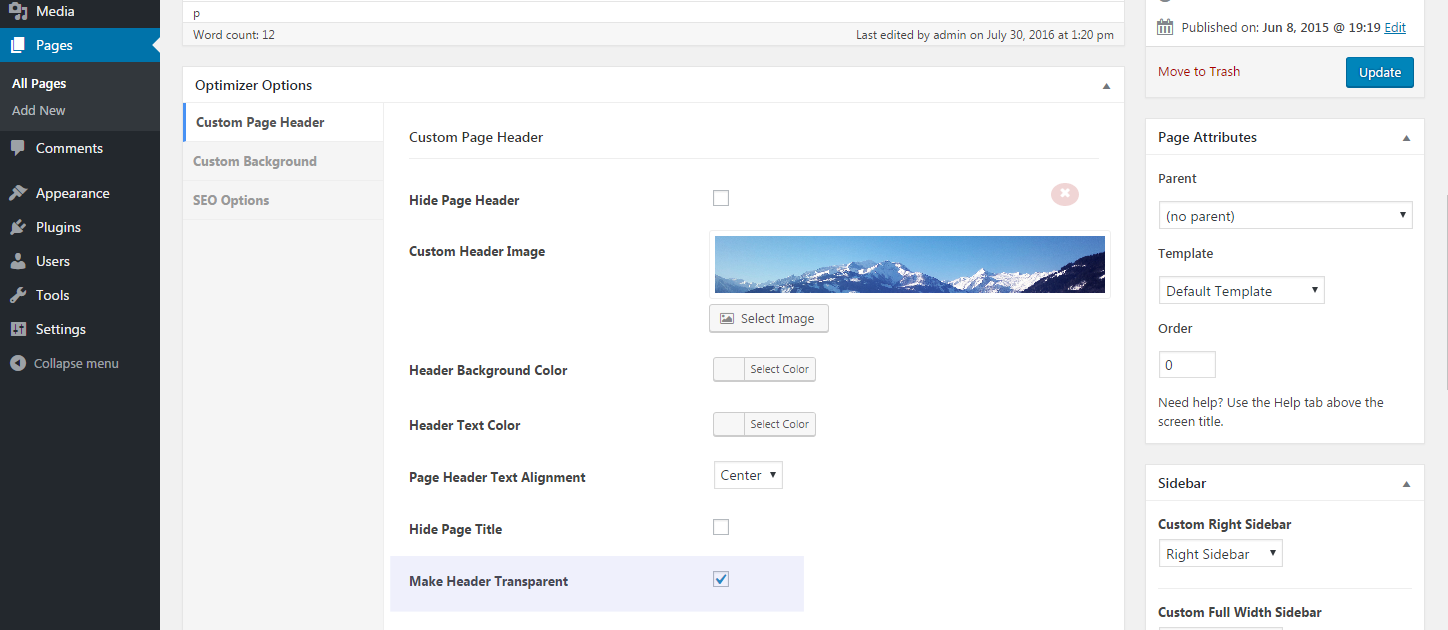 Make Header Transparent on Inner Pages - Optimizer WP